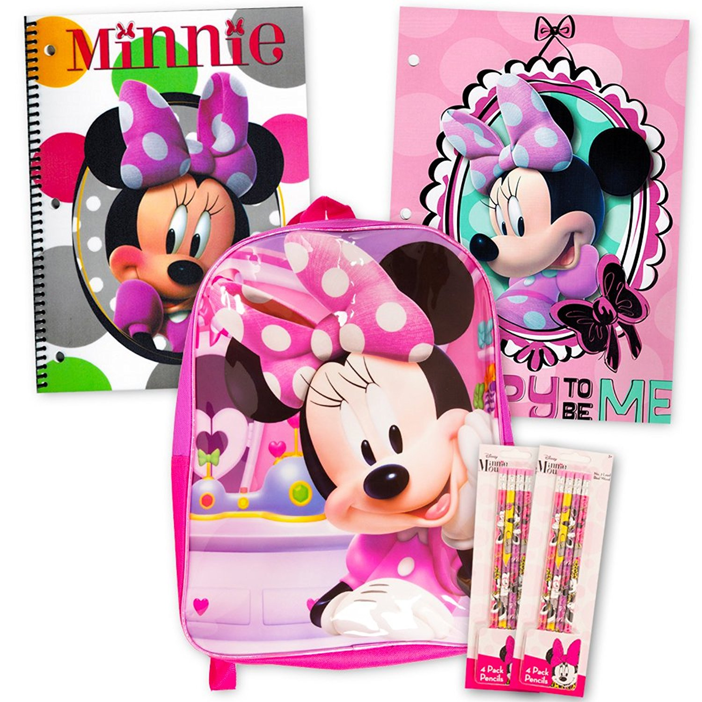 "Disney Minnie Mouse Backpack - 16"" Backpack, Notebook, Folder, Pencils"