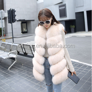 high quality fluffy and soft women's long real fox fur vest