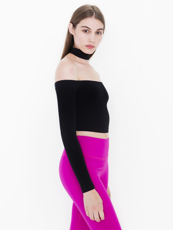 835c4583877 American apparel women slash neck off shoulder cotton slit neckline ...