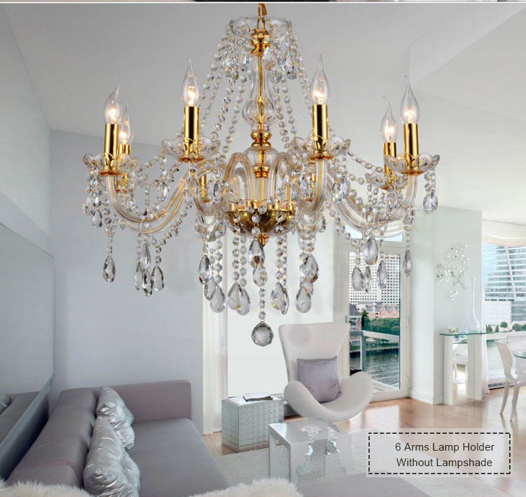 European-made candles crystal chandelier living room bedroom restaurant black crystal lamp hotel hall lamps and lanterns