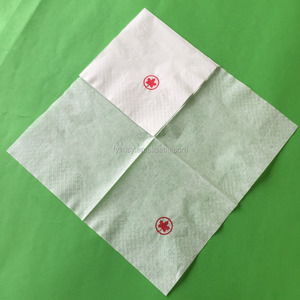 hangzhou customized 25x25cm 1ply 19gsm 1/4fold white printed napkin paper