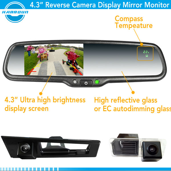 Auto Dimming +wireless Reverse Camera + Parking Sensor Car Rear ...