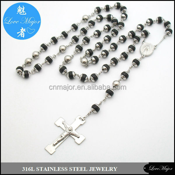 80cm catholic long two tone stainless steel rosary necklace of fashion jewellery