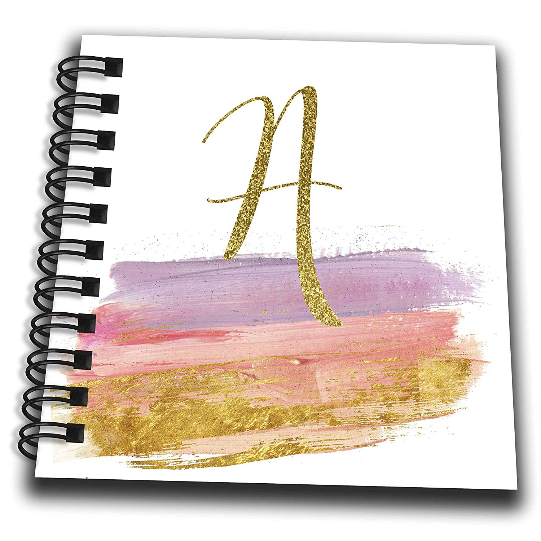 3dRose Anne Marie Baugh - Monograms - Modern Purple, Pink, Gold Brush Strokes Monogram A - Mini Notepad 4 x 4 inch (db_267745_3)