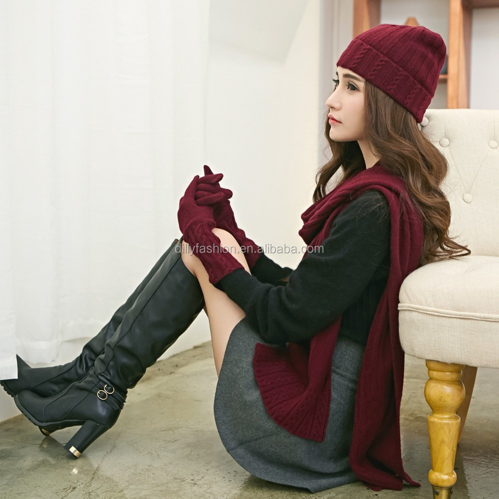 Wholesale ladies designer cashmere knitted hat and scarf sets