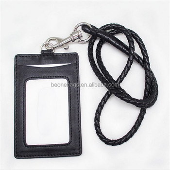 Black leather id card door card holder neck rope with detachable string for staff  sc 1 st  Alibaba & Black Leather Id Card Door Card Holder Neck Rope With Detachable ...