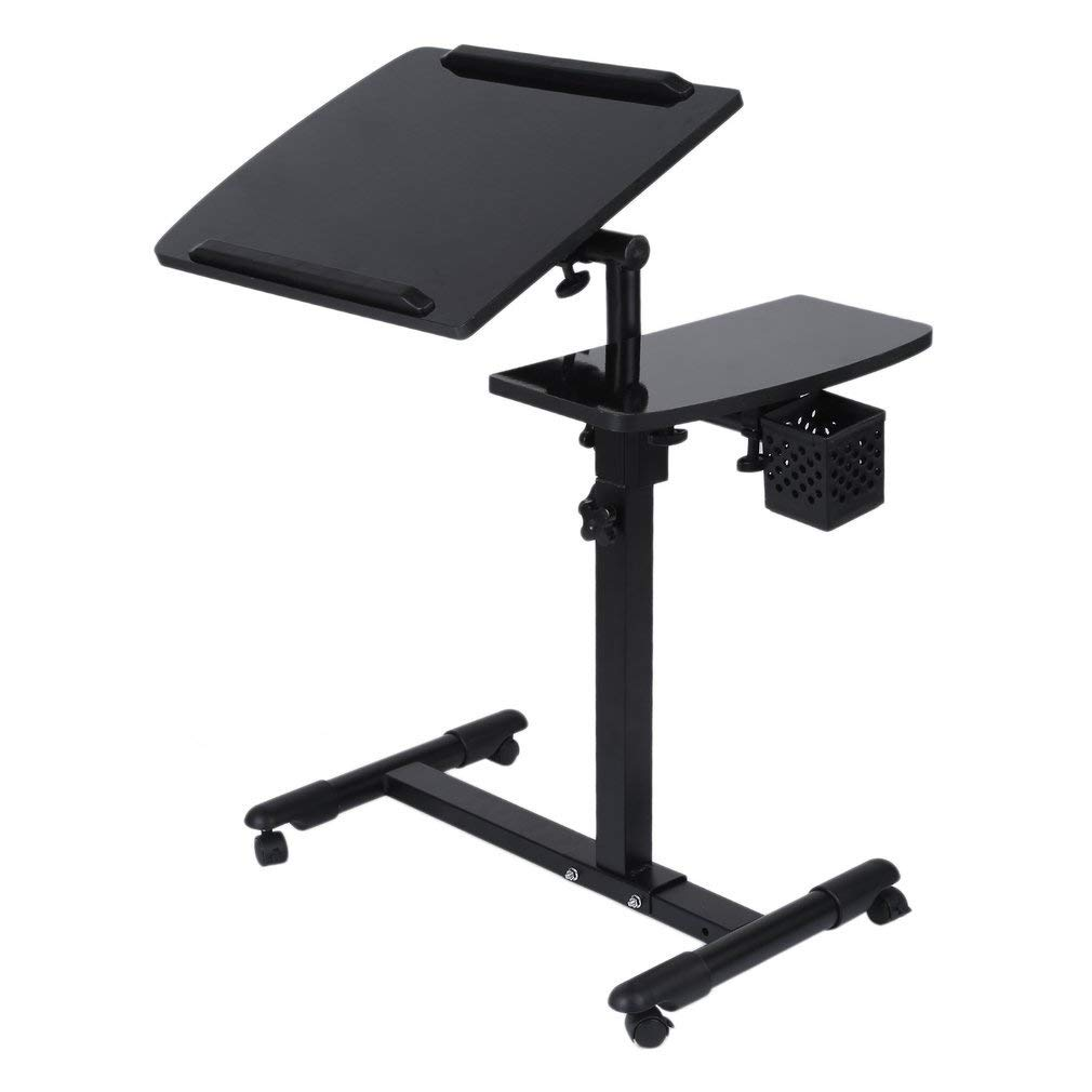 Laptop Rolling Cart Table, Portable Height & Angle Adjustable Desk Tiltable Tabletop Desk for Right and Left-Handed Users, Sofa/bed Side Table Hospital Table Stand W/Lockable Casters W/Side Basket