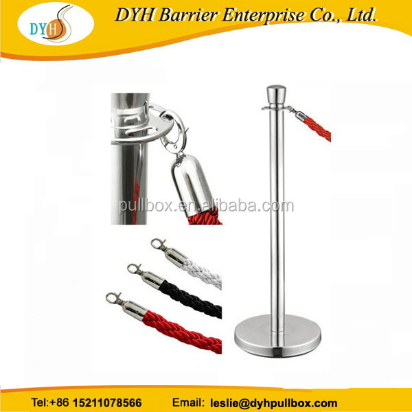 Factory direct selling silver stanchion pole with red velvet rope, heavy duty hanging rope barrier for queue line