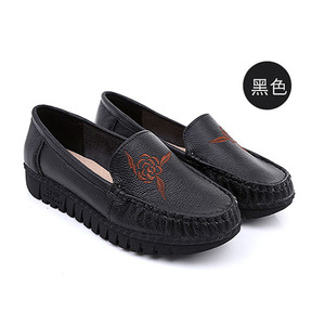Women's Casual Leather Loafers Soft Round Toe Driving Moccasins Slip On Flat Shoes