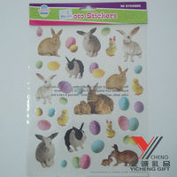 Factory Supply Easter Rabbits And Egg Glitter Window Cling Static Sticker