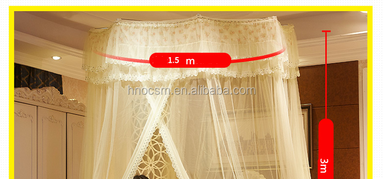 Beige Mosquito Net Canopy Netting Canopy Lace Dome Bed Canopy Easy Installation Hanging Bed Curtains for 2.2 M or Less Size Bed 1PC
