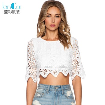 cf4c2088d168 Customize Ladies Sexy White Crop Tops with Lace Mesh Half Sleeve Blouse