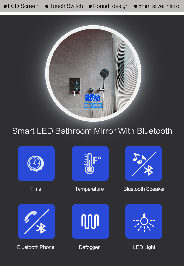 Venda Popular parede pendurado do bluetooth inteligente e brilhante luz LED magic mirror espelho de Prata