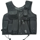 Black color nylon tactical vest, durable quality police vest, light weight nylon police vest with pouches