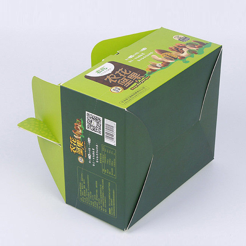 Take Away Green Paper Packaging Boxes Glossy Lamination And Soft Crease For Food Packaging