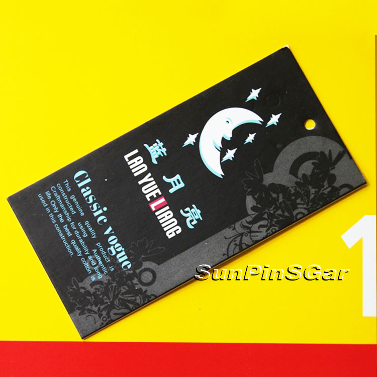 China manufacturer custom jeans hang tags designs with eyelet