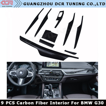 9 Pcs Set For Bmw 5 Series G30 Carbon Fiber Interior Trim Cover