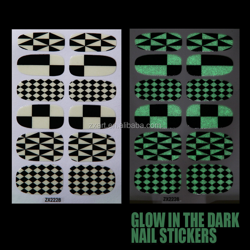peel off nail polish sticker holiday glow in the dark nail art wraps
