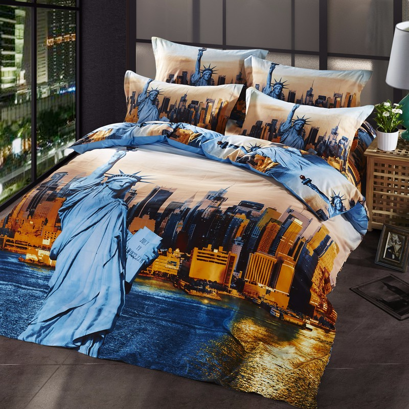 4 Pcs Duvet Cover High Quality Bedding Set 3d Beach