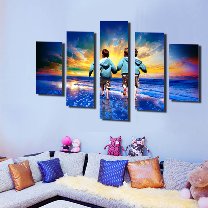 Simple modern printing of the sight of the bright colored children's true scenery canvas decorative picture