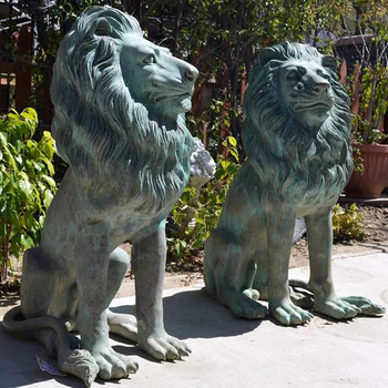 Antique Life Size Bronze Lion Statue Pair Large Wildlife Metal Garden Sculpture