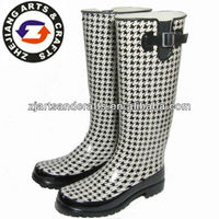 Knee black grid fashion ladies rubber boots with buckle and umbrella