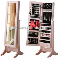 MDF panel standing pink mirror jewelry armoire