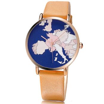 World Map Watches Custom Leather Wrist Watch Pc21 Movement Custom ...
