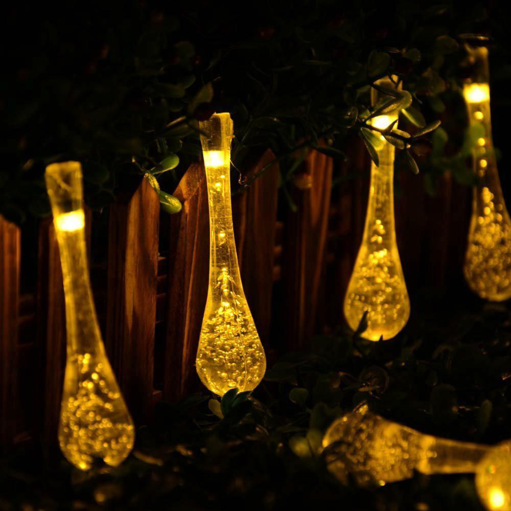 Solar Light String Crystal Water Drop Solar Fairy String Lights ...