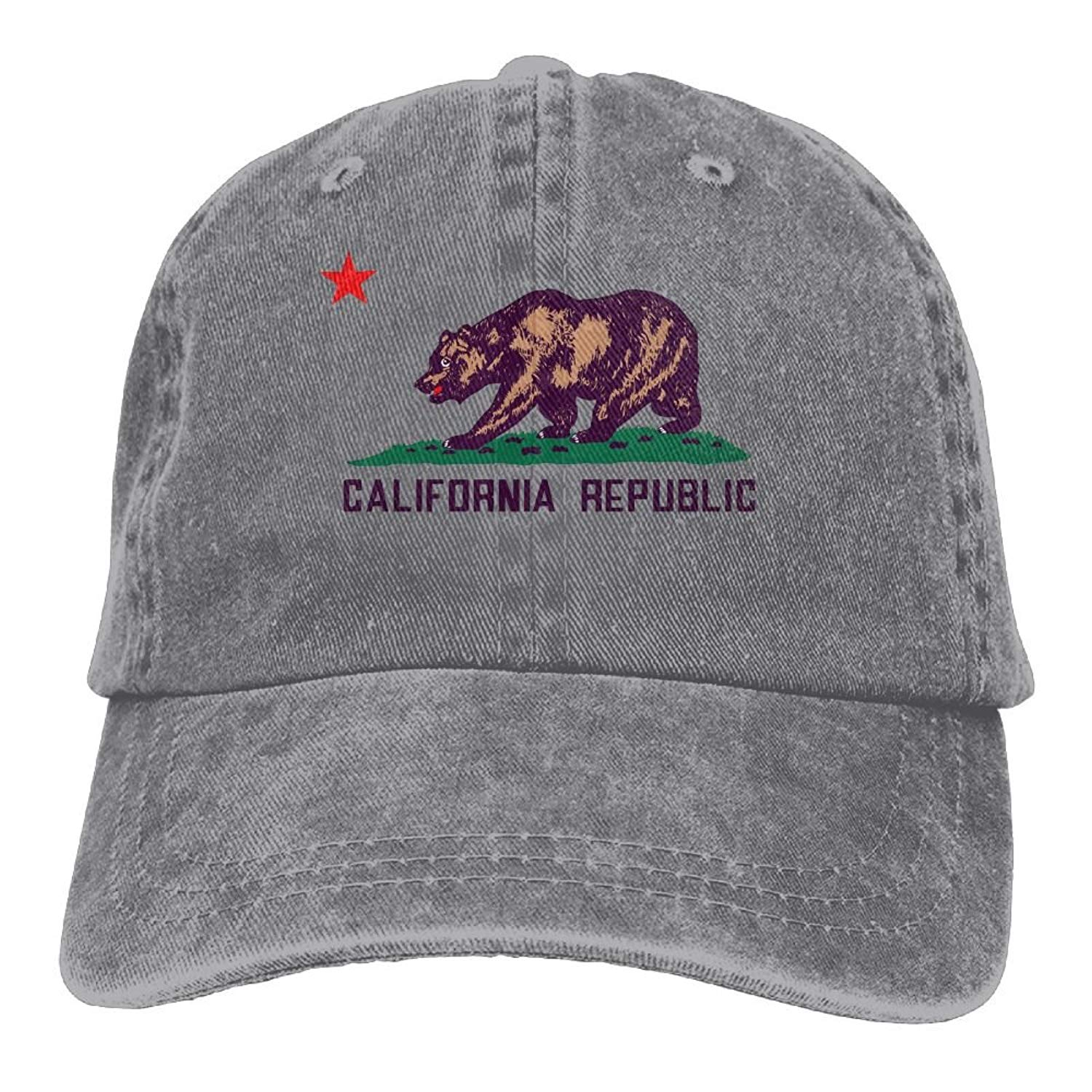d6ceca88fe383 Get Quotations · Adjustable Cowboy Style Baseball Cap Hat California  Republic Grizzly Bears Unisex Vintage Washed Dyed Cotton Plain