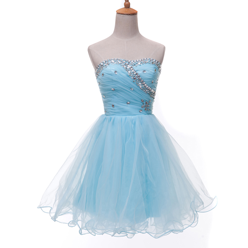 31bf9062228 Get Quotations · GK Light Blue Black White Watermelon Strapless Formal Prom  Homecoming Gown Ball Girl s Mini Party Short