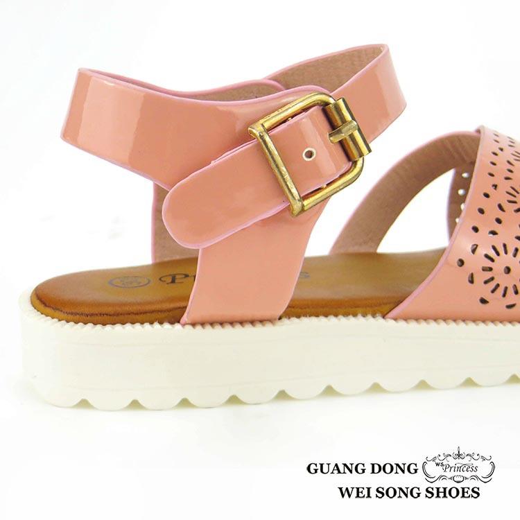 Hollow Out Open Toe Pu Soft Fancy Cute Girls Flat Party Wear Sandals