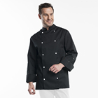 french chef coat cook uniform black for restaurant