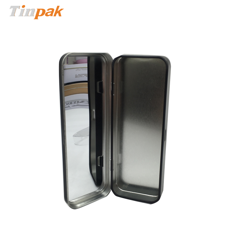 Printed  metal cosmetic tin cans with mirror