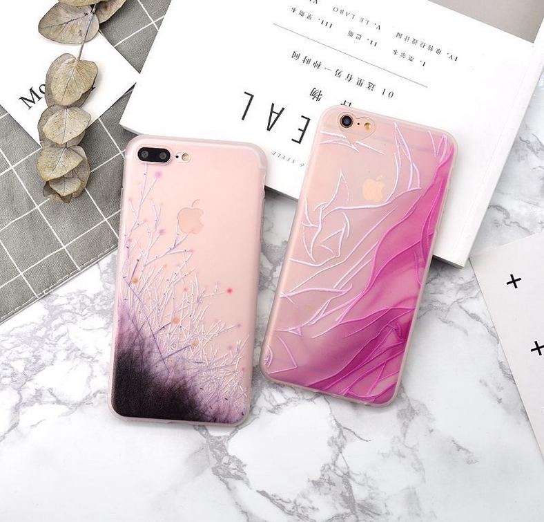 Silk wildflower small fresh relief phone case for iphone 7,3D Art pattern Couple and goodfriends's gift TPU case for iphone 7