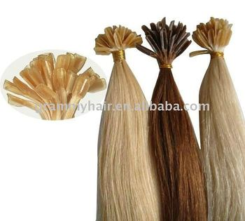 Human Hair Extension Nail Tip 20 Inch keratin glue from Italy