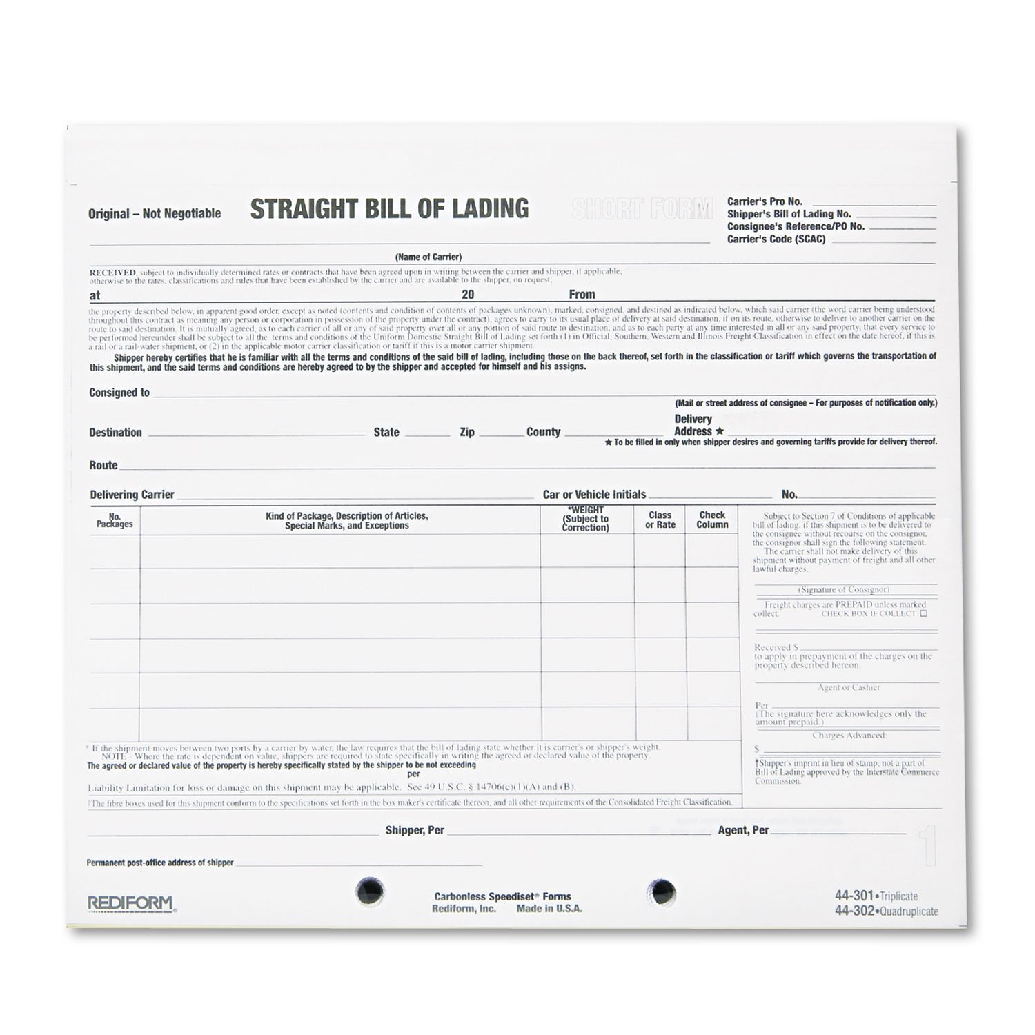 Rediform Bill of Lading Short Form, 8 1/2 x 7, Three-Part Carbonless, 250 Forms