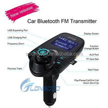 2017 Wireless Multifunctional Bluetooth Handsfree Car Kit/Adapter FM Transmitter/Calling/Mp3 Player, USB Ports for charger