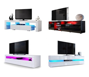 New design modern simple UV High Gloss TV stand LED light TV wall cabinet units designs wood TV cabinet
