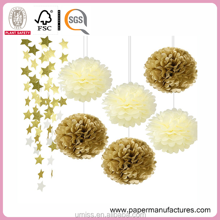 Gold Cream Tissue Paper Pom Poms Gold Twinkle Star Garland,Sparkling Gold Star Banner Bunting Tissue Paper Flower for Wedding