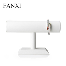 FANXI Stock Elegant White PU Leather Jewelry Display Stand For Watch Bangle Bracelet Organizer T Bar Jewelry Display Stand