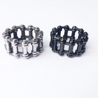 Custom Deign Fashion Biker Chain link Ring Polishing Cool 316L Stainless Steel Jewelry Motor Biker Ring