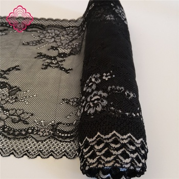 Spandex Nylon rayon black stretch lace fabric for lingerie Underwear