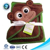 100% cotton bamboo baby bamboo hooded bath towel Wholesale kids cartoon big eyes monkey towel