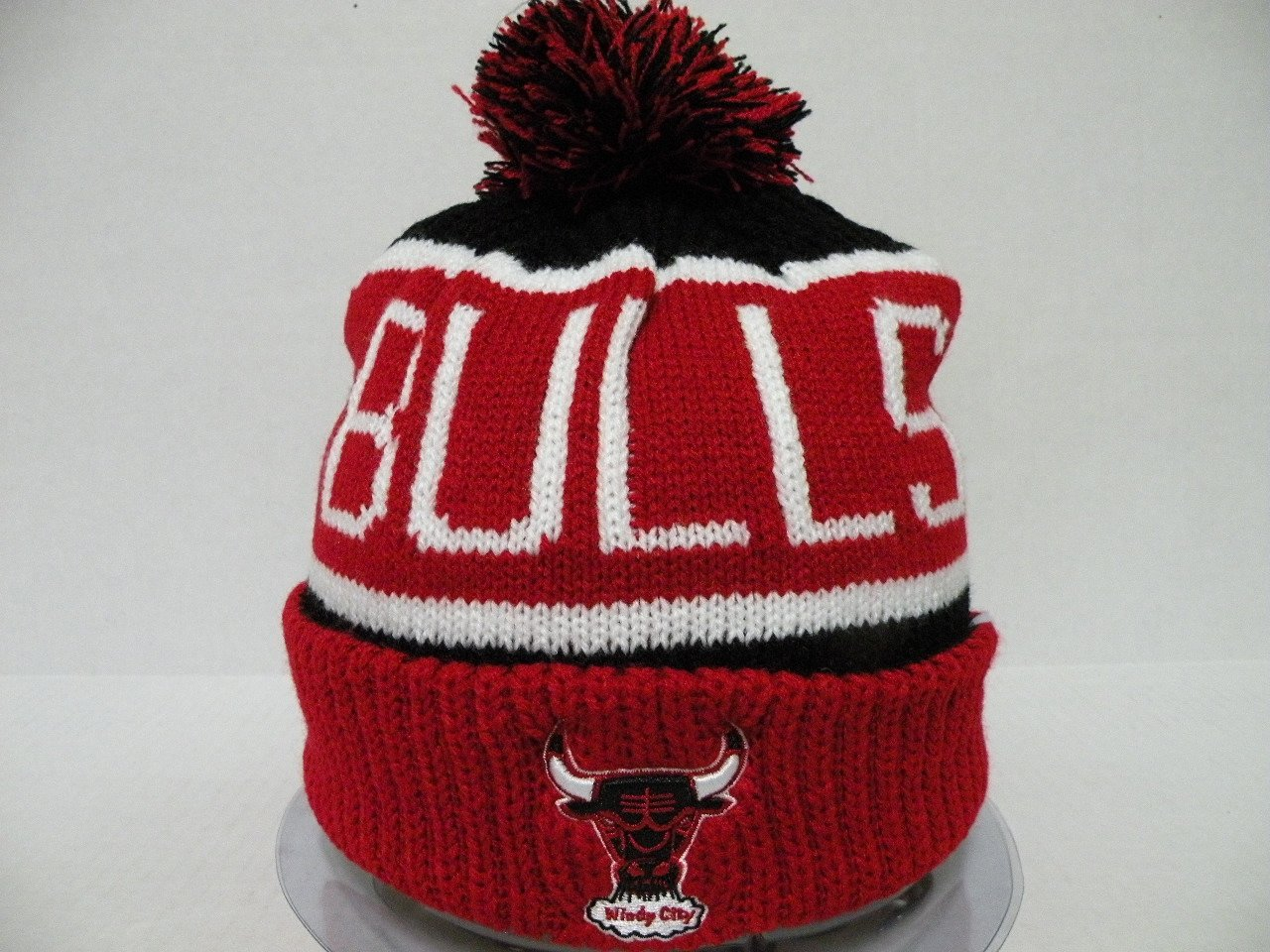 best service adec3 b39a3 Get Quotations · 47Brand Authentic NBA Chicago Bulls Stripe Red Toque Pan  Pan Retro Beanie Cap
