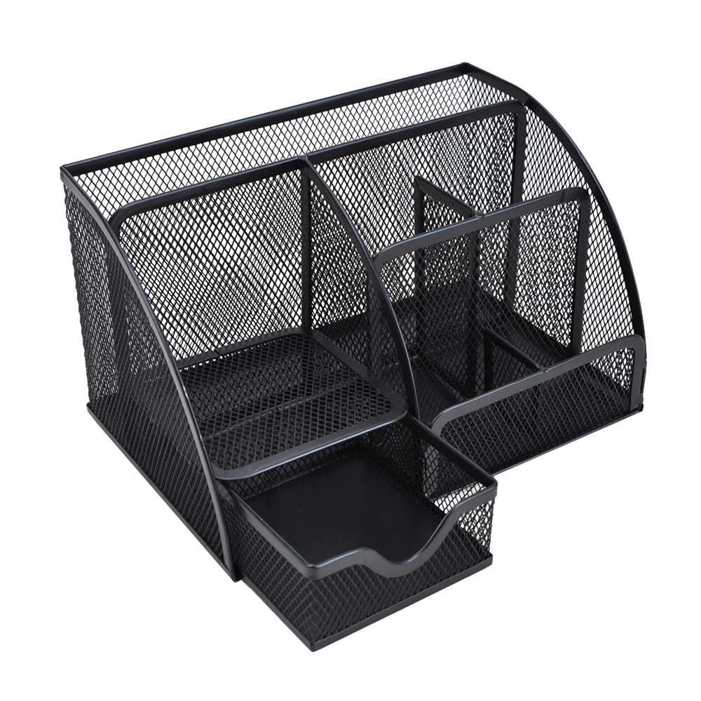 7 sectie Metalen Mesh Office Desktop Organizer Pen Houder