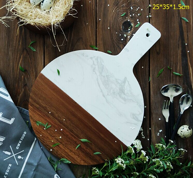 Aston white natural marble chopping plate spell Acacia wooden Food serving tray