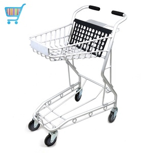 japan style shopping trolley metal wheeled supermarket grocery cart 4 wheels wheeled standard old people shopping cart