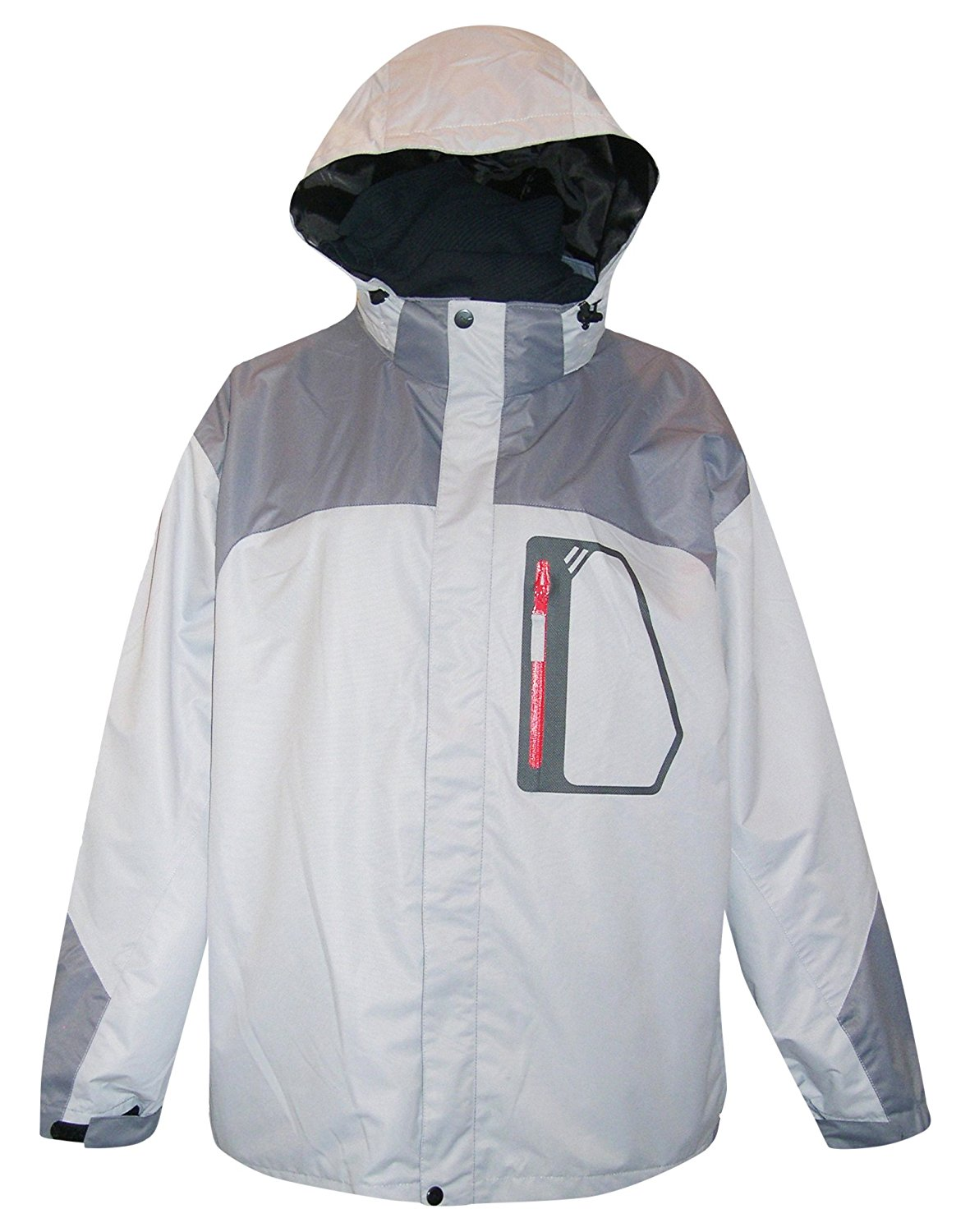Pulse/Iceburg Mens 3in1 Ski Jacket Coat S-XL (Large, Charcoal/Grey/Red)