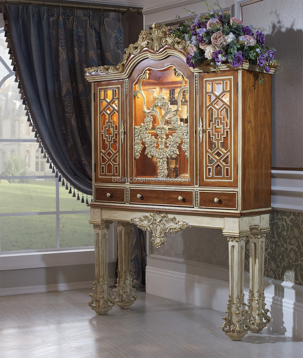 Bisini Luxury Wood Carved Antique Living Room Display Cabinet Royal Wine